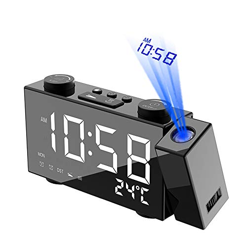 Galapara Despertador Proyector, LCD Radiocontrol inalámbrico Estación meteorológica Multifuncional...