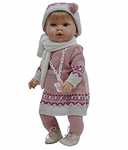 Tita muñeca bebé con chupete (R/1080), con un bonito vestido de inverno para que los niños jueguen a vestirla y desvestirla. Muñeca de cuerpo blando y un taco muy suave.