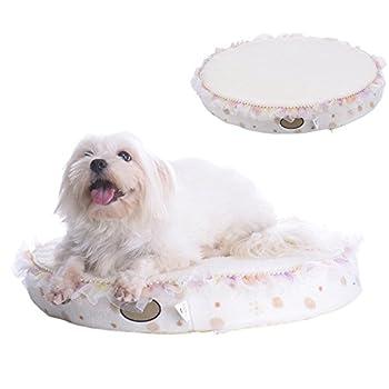 TAONMEISU? Panier Coussin perles bordées pour chien chat ultra-épais finette doux Amovible lavable hauteur 8 cm haut de gamme - Small