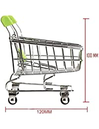 HHI Portable Multi Usage Stainless Steel Mini Shopping Cart Trolley Toy For Home & Office Decoration Cum Storage...