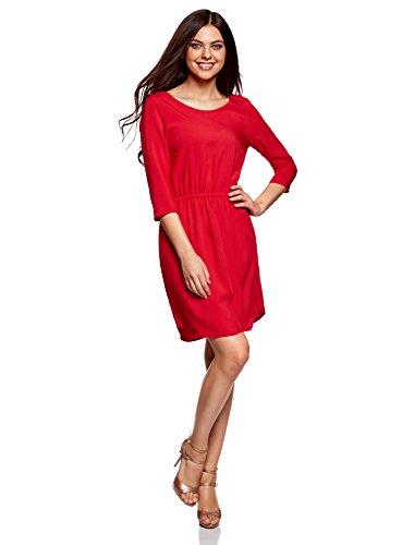 oodji Ultra Damen Viskose-Kleid mit 3/4-Arm Rot (4500N)