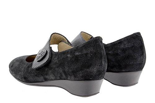 Scarpe donna comfort pelle PieSanto 9726 Mary Jean casual comfort larghezza speciale Negro