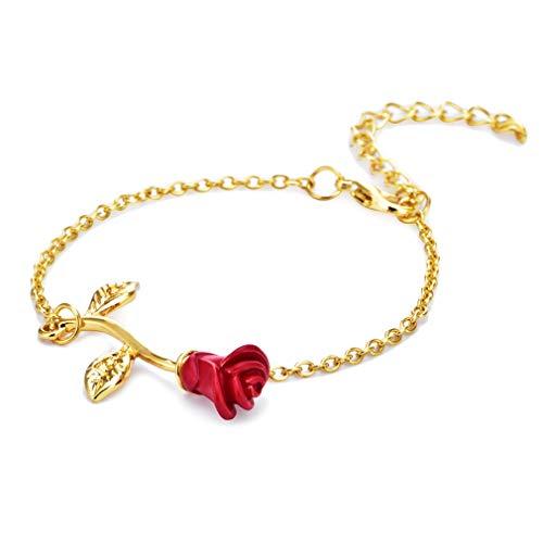 BeipeY Rose Flower Armband Rose Kette Armreif Einstellbare Armband Schmuck für Frauen Mädchen, ()