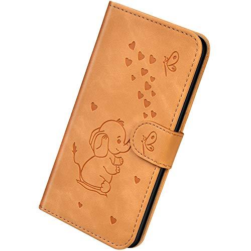 Herbests Kompatibel mit iPhone X/iPhone XS Hülle Leder Schutzhülle Handyhülle Flip Wallet Case Cover Liebe Schmetterling Elefant Leder Tasche Klapphülle Kartenfach Magnetisch,Braun