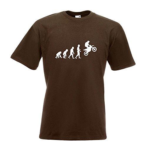 KIWISTAR - Evolution Motocross Motorrad T-Shirt in 15 verschiedenen Farben - Herren Funshirt bedruckt Design Sprüche Spruch Motive Oberteil Baumwolle Print Größe S M L XL XXL Chocolate