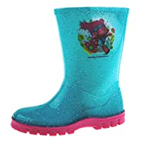 Lora Dora Girls Trolls Glitter Wellington Boots Blue
