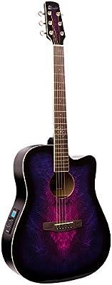 Lindo Guitars - Guitarra electroacústica (con preamplificador F-4T, afinador digital con XLR, salida para jack y funda de transporte), color morado