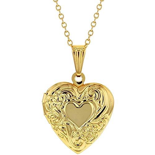 In Season Jewelry Mädchen - Herz Medaillon Anhänger Blume Foto Erinnerung klein 48cm (Gold Medaillon Anhänger)