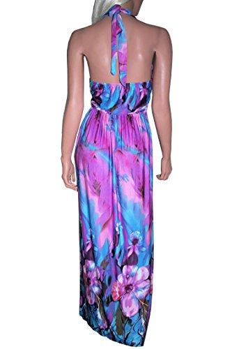 ... Raivar Damen Neckholder Kleid Violett