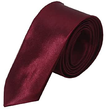 Oscar - schmale Krawatte SLIM TIE in verschiedenen Farben Breite ca. 5 cm - von Hand gefertigt aus feinem Satin (one size, Bordeaux glänzend)