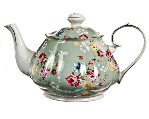 Gracie China by Coastline Imports Gracie China Shabby Rose Porcelain 4 1/2 Cup Teapot, Shabby Rose Green