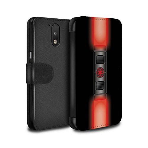 STUFF4 PU-Leder Hülle/Case/Tasche/Cover für Motorola Moto G4 2016 / Maul Sith Herr Rot Muster / Lightsaber Laserschwert Kollektion (Darth Maul-makeup)