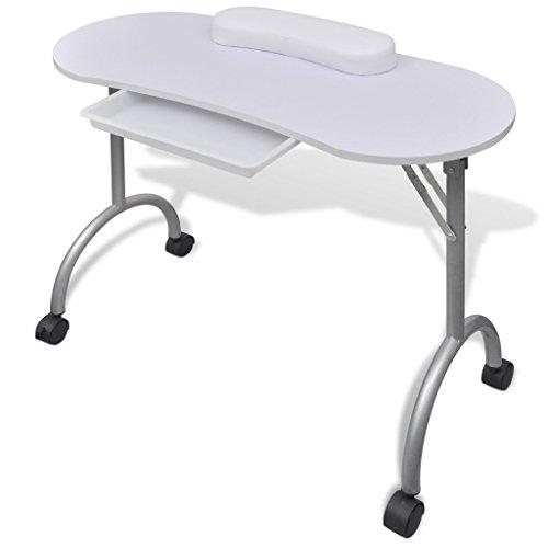 Festnight Table de Manucure Pliable avec Roulettes Blanche