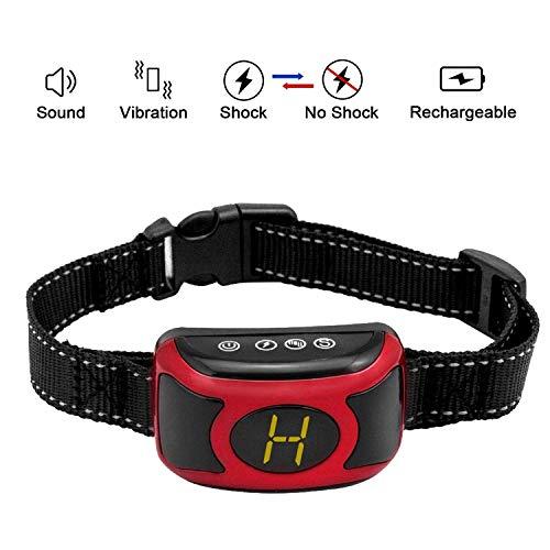 Havenfly Dog Bark Collar - Cuello de Corteza Antiarrugas Recargable con Tres Niveles de sensibilidad, pitido, vibración y SK inofensivo