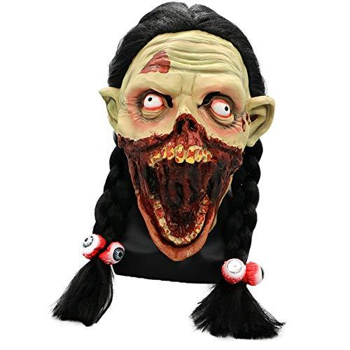 Halloween ragazza smorfia lunga treccia maschera orrore spaventoso marcio faccia marcio cranio zappa dio morto uniforme codice lattice parrucche partito carnevale ordinato forniture wuhx