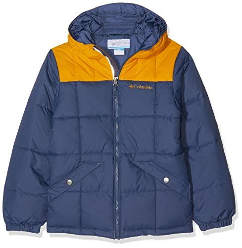 Columbia Wasserabweisende Jacke für Jungen, Gyroslope Jacket, Nylon, Blau (Dark Mountain/Golden Yellow), Gr. XS, 1624361 Nylon Wintermantel