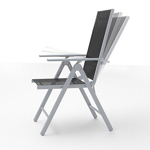 Alu Sitzgarnitur Gartenmöbel Set 9-teilig Garnitur Sitzgruppe 1 Tisch 190×87 + 8 Stühle - 4
