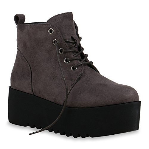 Gefütterte Damen Boots | Plateau Stiefeletten Profilsohle | Knöchelhohe Stiefel Veloursleder-Optik | Plateauschuhe Grau Schwarz