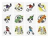 24x Kinder-Tattoos, temporäre Tattoos, Design: Fußball, ideal für Geburtstag & Partys