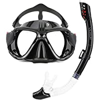 VILISUN Snorkel Set with Tempered Glass and Top Dry Snorkel, Anti-Fog & Anti-Leak Panoramic Scuba Diving Mask with Sports Camera Go Pro Mount, Food-Grade Silicone and Goggles Mask for Adults & Kids