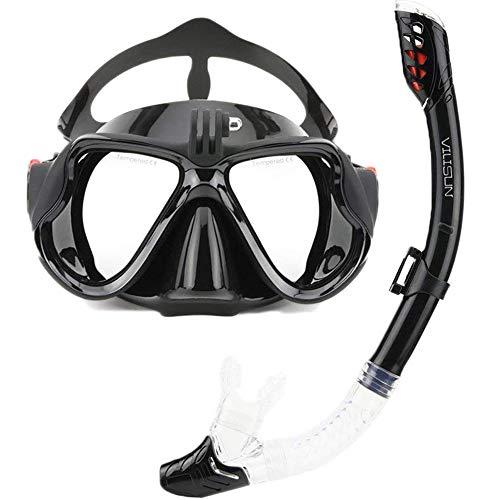 VILISUN Taucherbrille mit Schnorchel Anti-Leck Anti-Fog Schnorchelset Tauchset aus Gehärtetem Glas, ideal für Tauchen, Schnorcheln und Schwimmen, Schwarz Set (Erwachsene)