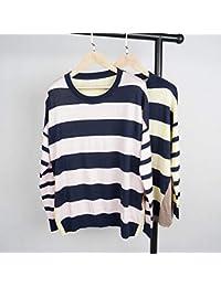 SGHTRHXUT suéter Código Grande Tocando Fondo Camisa de Rayas de Comercio Exterior Camisa de Punto Explosivo Mangas largas, Rosa, L