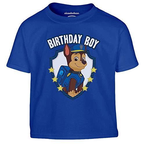Paw Patrol - Chase Birthday Boy Kleinkind Kinder T-Shirt 96/104 (3-4J) Blau -