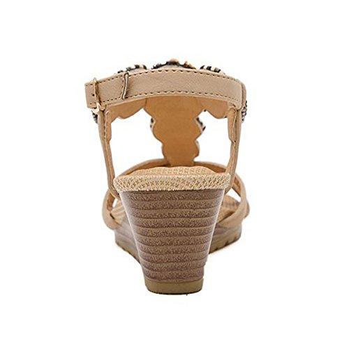 COOLCEPT Femmes Mode T-Strap Sandales Orteil Ouvert Compenses Heel Slingback Chaussures Abricot