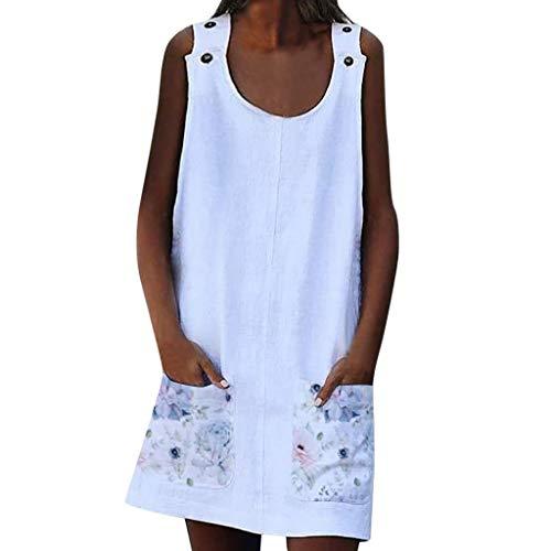 LOPILY Tunika Damen Große Größen Zweifarbige Blusenkeid Taschen Sommerkleid Lose Atmungsaktives Umstandkleid Knielang Sommerkleid für Mollige Ärmellos Strandkleid (X5_Weiß, EU-40/CN-XL)
