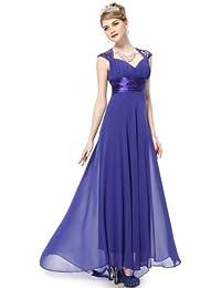 Ever Pretty Damen V-Ausschnitt Lange Chiffon Abendkleider Festkleider Größe  42 Saphirblau 388d75a9e2