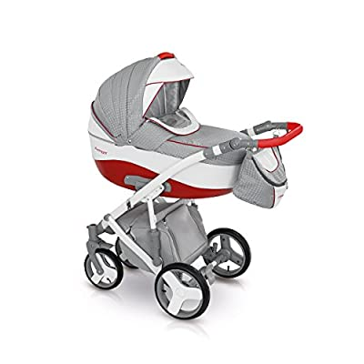 Pram Avenger/Winter Footmuff Car Seat Red/Silver Grey with Parasol with New Wool