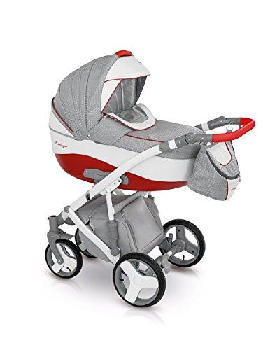 Lux4Kids Kinderwagen Set Babywanne Sportsitz Babyschale Wickeltasche Matratze Buggy optionales Zubehör 3in1 VIP Luxus Made in EU Kinderwagen Avenger+ Autositz Rot-Silbergrau