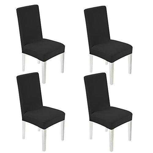 4 pezzi coprisedie sala da pranzo universale wanyi coprisedie con schienale elasticizzato lavabile copertura della sedia con banda elastica per una misura universale per hotel, ristorante, decorazione per la festa di nozze / casa, cucina, sala da pranzo (nero)
