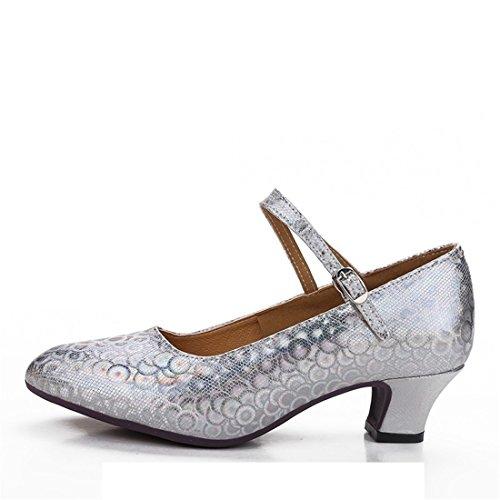 Wxmddn Ladies'scarpe balletti scarpe danza scarpe tango ginnastica danza jazz scarpe danza allenatori scarpe pratica performance Dance scarpe per ragazze donne Argento 3.5cm esterno