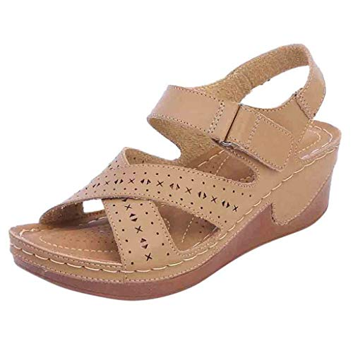 Yvelands Sommer Frauen Plattform Hohl Keilabsatz Sandalen Knöchelriemen Peep Toe Bequeme Schuhe(Beige,39)