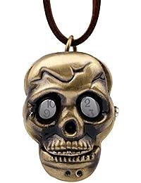 Hi_Smile Skull Pocket Watch Alloy Bronze Necklace Watch Pendant Nurse Watch