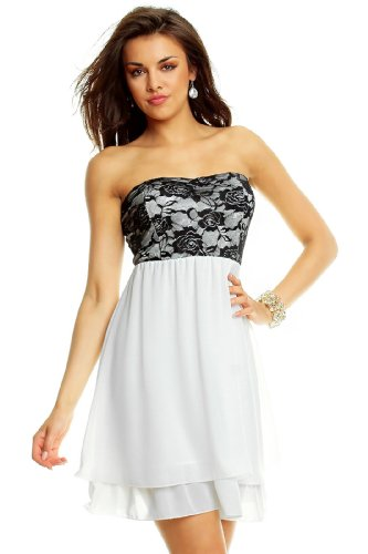 Elegante cocktail vestito con punte (ak8863) White - Blanc noir