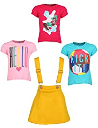 Gkidz Girls Pack of 3 Printed Cotton T-shirts with 1 Pack Stretchable Dungree Skirt (JG-GRAPHICCMB3_N_003DNGRE-YLW_Multicolor )