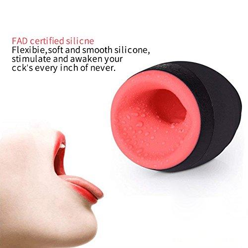 Urnight Masturbatoren Sex Men Cup Oral Sexspielzeug Heizfunktion Saugfunktion Wie Mund mit 6 Vibrationsmodi und 3 Intensitätsstufen Wasserdicht, 450 g - 4
