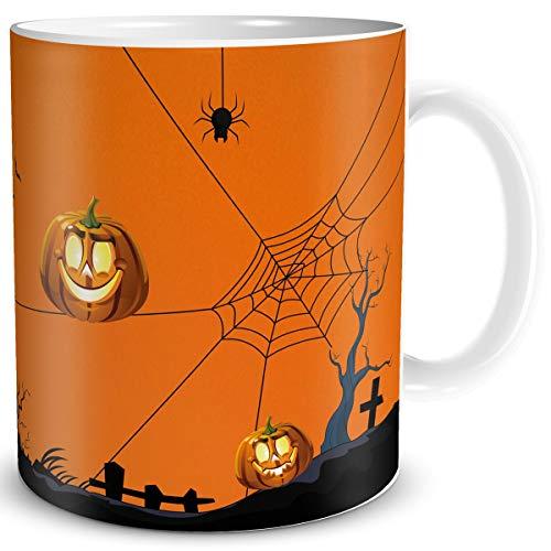 TRIOSK Halloween Tasse Kürbis Deko Becher Mug gruselig lustig für Party Geschenk Männer Frauen Kinder Cup Dekoration Orange (Halloween Hexen-magie, Cartoon)