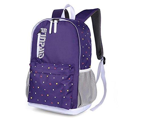 EGOGO leichte einfache kausale Schule Rucksack Studentin Tasche Schultasche Travel Pack College Rucksack Purple