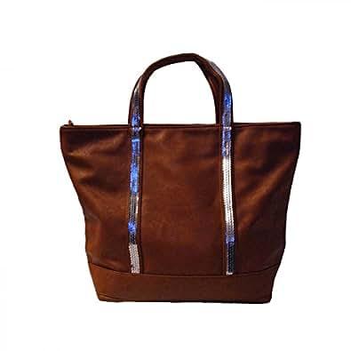 Shopping-et-Mode - Sac à main camel style cabas en simili-cuir avec lanières à paillettes - Camel, Simili-cuir