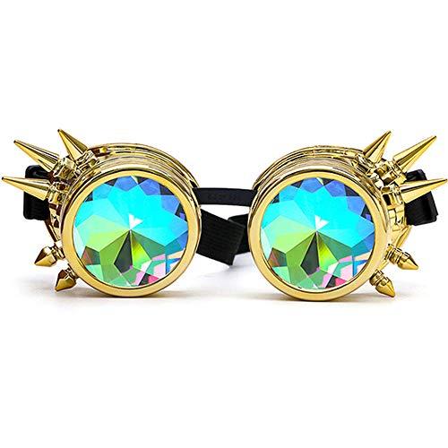 DASHAN Kaleidoskop Bunte Gläser Rave Festival Party EDM Sonnenbrille Diffracted Objektiv Steampunk Brille,B