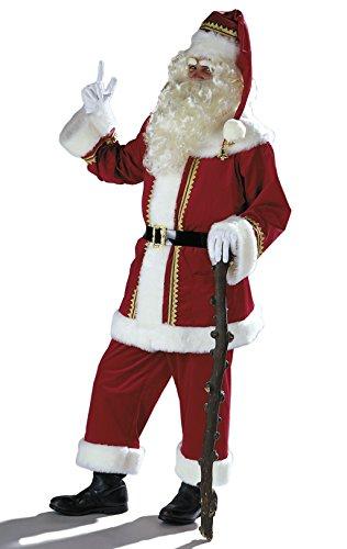 Anzug Für Samt Kostüm Erwachsene Weihnachtsmann - Herren Kostüm Weihnachtsmann Anzug aus Samt mit Mütze Gürtel