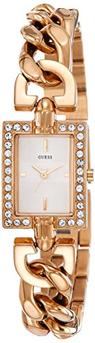 Guess Women's Quartz Watch with White Dial Analogue Display and Rose Gold Stainless Steel Bracelet W0540L3