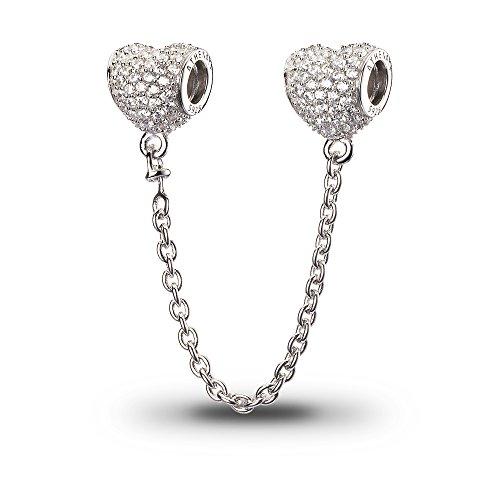 Athenaie catena in argento cava cz a forma di cuore la sicurezza di connessione 925 con bracciale europea