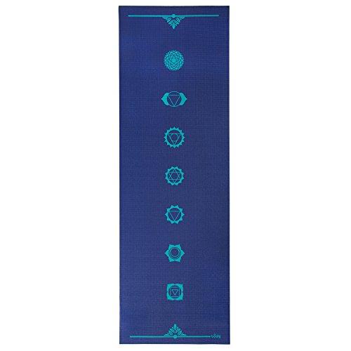 Yogamatte der LEELA COLLECTION, PVC-Matte mit Öko-Tex, blau, bedruckt mit aqua-blauem Design-Print