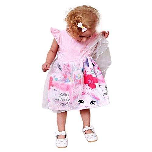 e bunt Karikatur Katzen druck kleid Mädchen sommer Säugling Einhorn dress Ärmellos blumen Dekoration strand kleider, 0-24 Monate (18 Monate, Rosa) (Katze Kostüm 24 Monate)