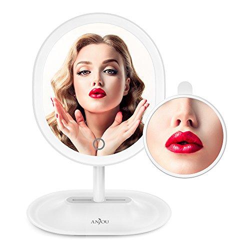 LED Kosmetikspiegel, Anjou aufladbarer kabelloser beleuchteter Make up spiegel mit abnehmbarem 5X vergrößerung Spiegel, 120° Rotation inklusive Reinigungstuch, weiß - Make-up-spiegel Wand Beleuchtete