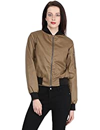 Martini Wax Coated Front Zip Biker's Cotton Jacket (Khaki & Black, Medium)